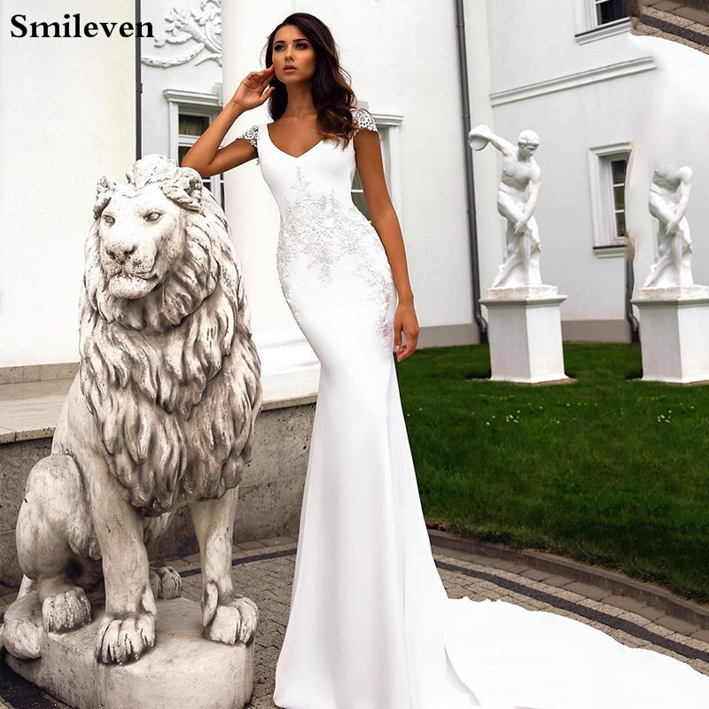Smileven V Neck Mermaid Wedding Dress 2020 Lace Boho Bride Dresses Vestido De Novia Cap Sleeves Wedding Gowns