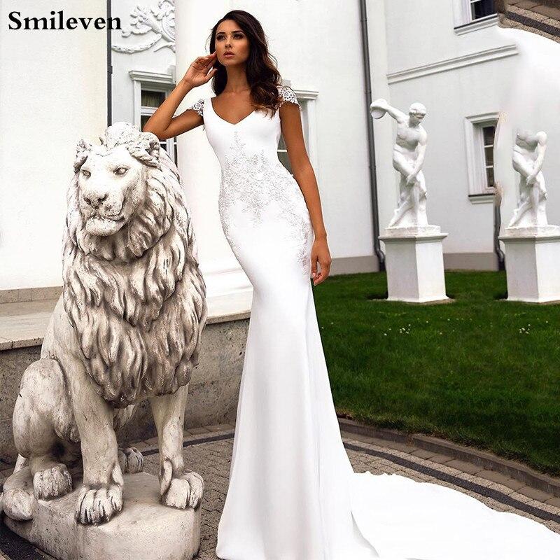 Smileven V Neck Mermaid Wedding Dress 2020 Lace Boho Bride Dresses Vestido De Novia Cap Sleeves Wedding Gowns