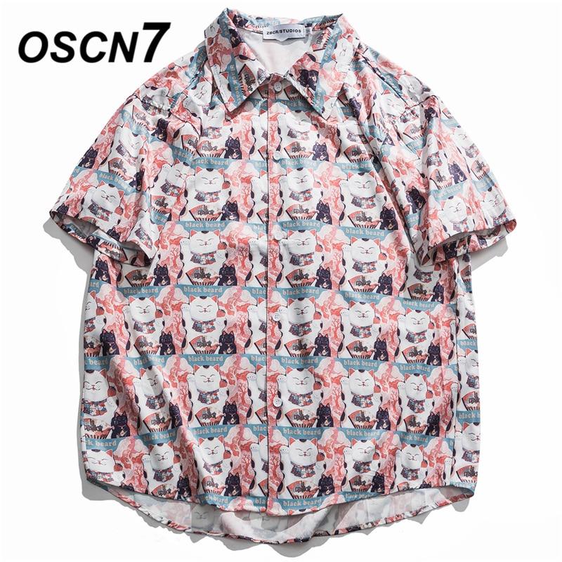 OSCN7 Casual Street Printed Short Sleeve Shirt Men 2020 Hawaii Beach Oversize Women Fashion Harujuku Shirts For Men 13827