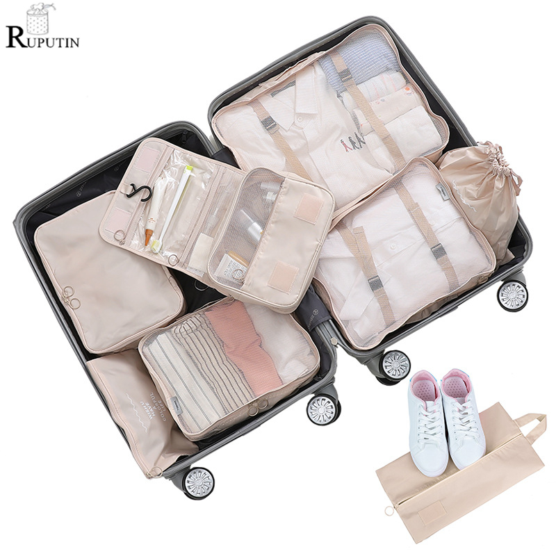 New 8 pieces set Large Capacity Luggage Storage Bag Clothes Underwear Shoes Cosmetics finishing Bag Storage Toiletries Wash Bags