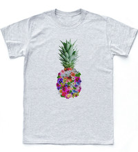 Pineapple Flower Holiday Tee Hipster Indie Tumblr Swag Top Beach Floral T-Shirt New Unisex Funny Tops Tee Shirt(China)