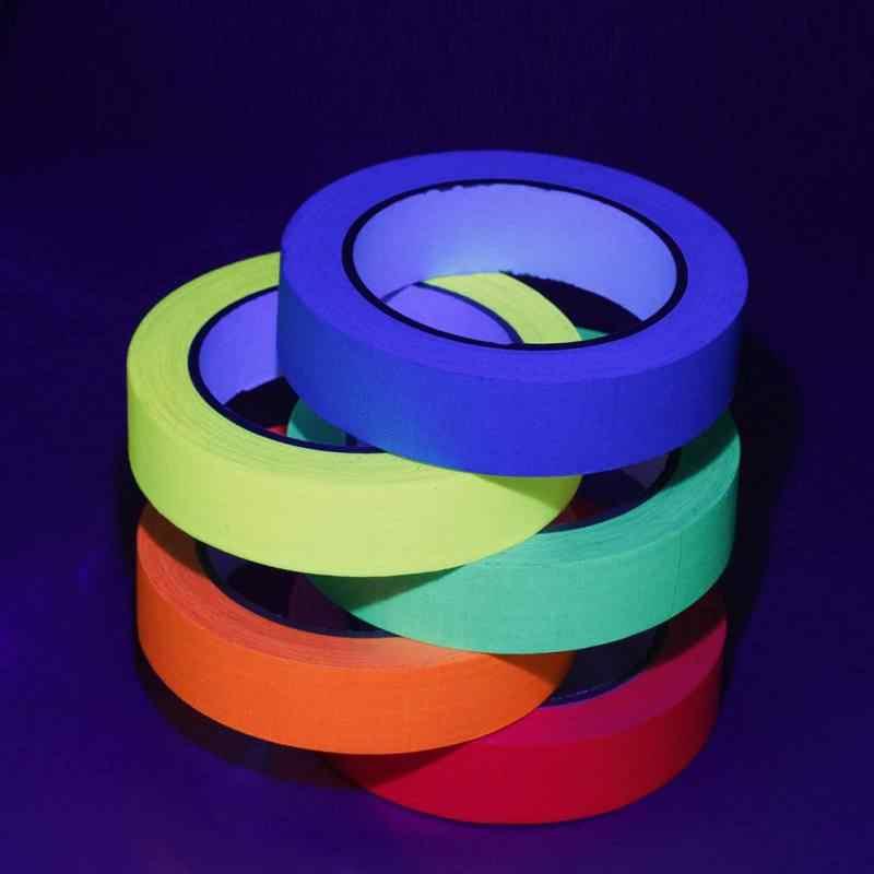 Ruban de tissu Fluorescent réactif de lumière noire UV brille dans le ruban de Gaffer de néon foncé