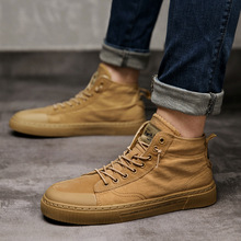 Whoholl Hot Men Shoes Fashion Warm Fur Winter Men Boots Autumn Leather Footwear For Man New High Top Canvas Casual Shoes Men 9.5 цена