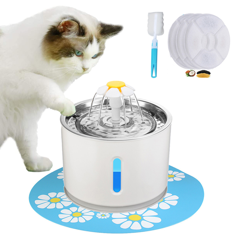 Automatic Pet Cat Water Fountain Dispenser USB LED 2.4L Ultra Quiet  Dog Drinking Bowl Drinker Feeder Bowl Pet Drinking Feeder