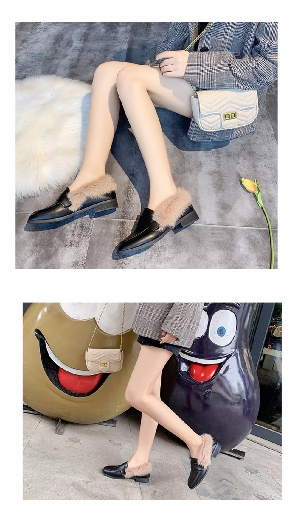 Autumn winter casual women shoes fluffy warm fluffy lining fashion black brown square toe women's shoes 39