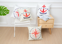New arrival coreless Pillowcase Creative Navigation Vessel Anchor Cotton and Hemp Pillow Automotive