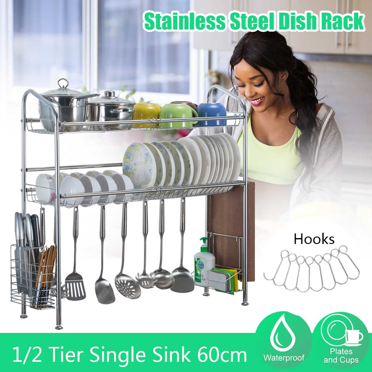 Layer Stainless Steel Kitchen Shelf Organizer Dishes Drying Rack Over Sink Drain Rack Kitchen Storage Countertop Utensils Holder