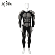 Ling Bultez High Quality PU Stretchy Muscle Suit With Fullbody Embossed Muscle Padding Cosp