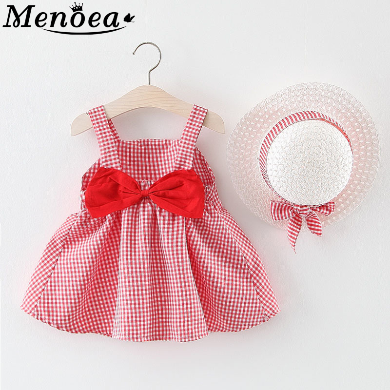Menoea Newborn Baby Clothes Sets 2019 Summer Kids Clothes Animals Pattern Dress Dot Bow Pattern 3Pcs Baby Girls Clothing Suits