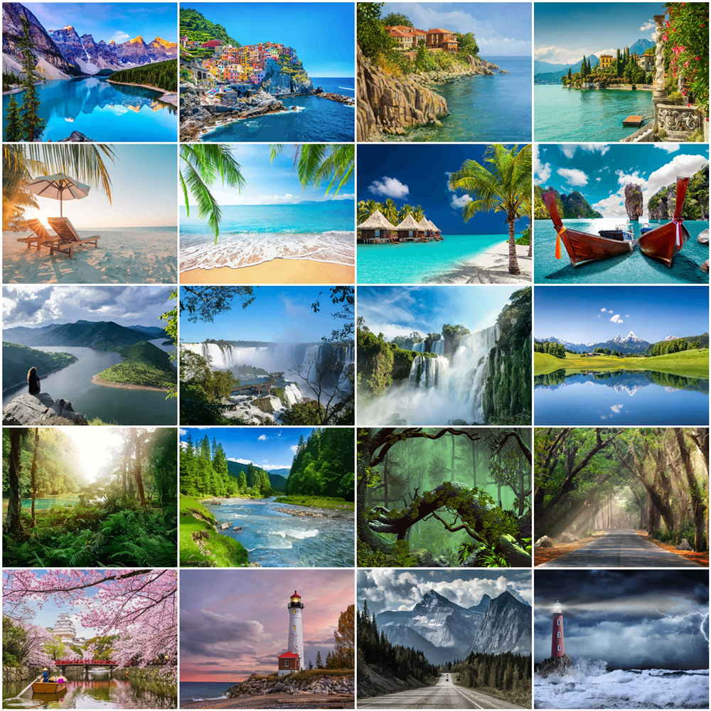HUACAN numbrite järgi maalilmine / maalimiskomplekt erinevad veekogude, mäestike ja metsavaated / 50x40cm ilma raamita