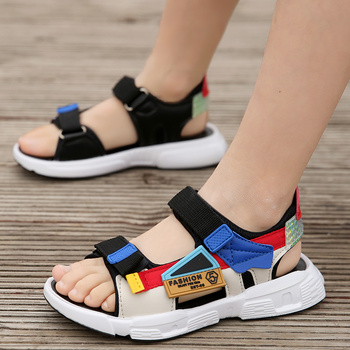 ULKNN BOY'S Sandals 2020 Summer New Style 6 Boy Beach Shoe 8 Big 10 Anti-slip Soft-Sole 12-Year-Old Young STUDENT'S - discount item  43% OFF Children's Shoes