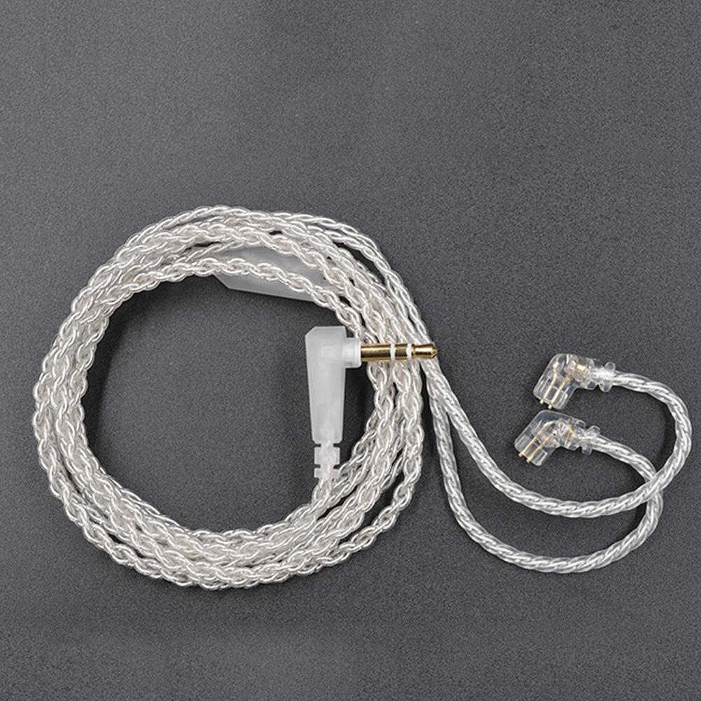 Portable Durable Replace Silver Plated 3.5mm Plug 0.75mm 2Pin Connector Lightweight Earphone Cable For KZ-ZSN