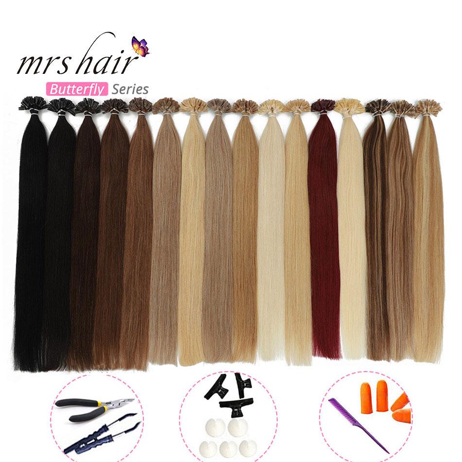 MRS HAIR KITS Nail Hair Hair Extensions Straight Machine Remy Hair Keratin Pre Bonded Human Hair Extensions 16