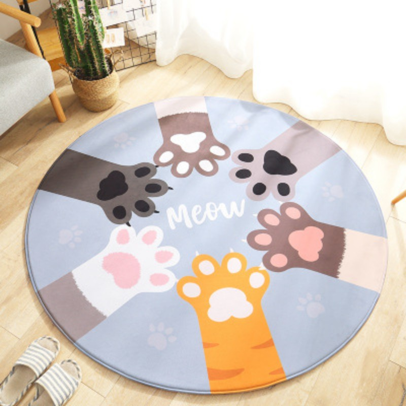Cartoon Rabbit Raccoon Cat Palm Printed Round Carpet For Living Room Chair Area Rug Children Play Tent Floor Mat Cloakroom Rug