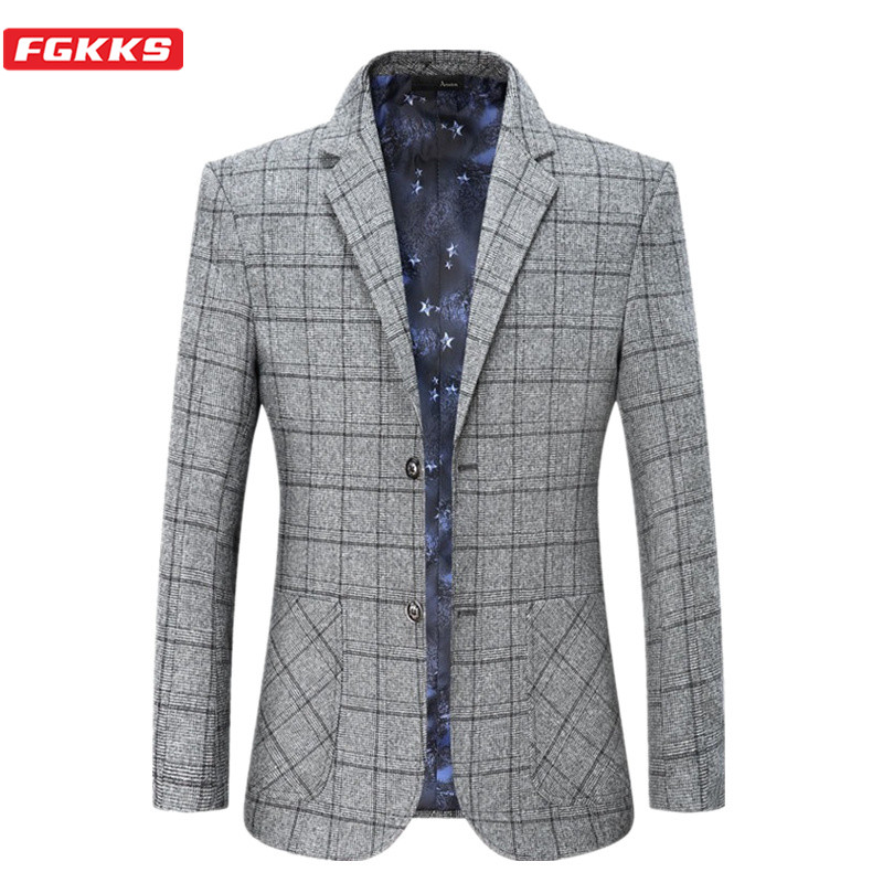 FGKKS Fashion Blazers Mens Autumn Winter Pland Business Male Casual Suit Jackets High Quality Brand Men Formal Blazer Coat
