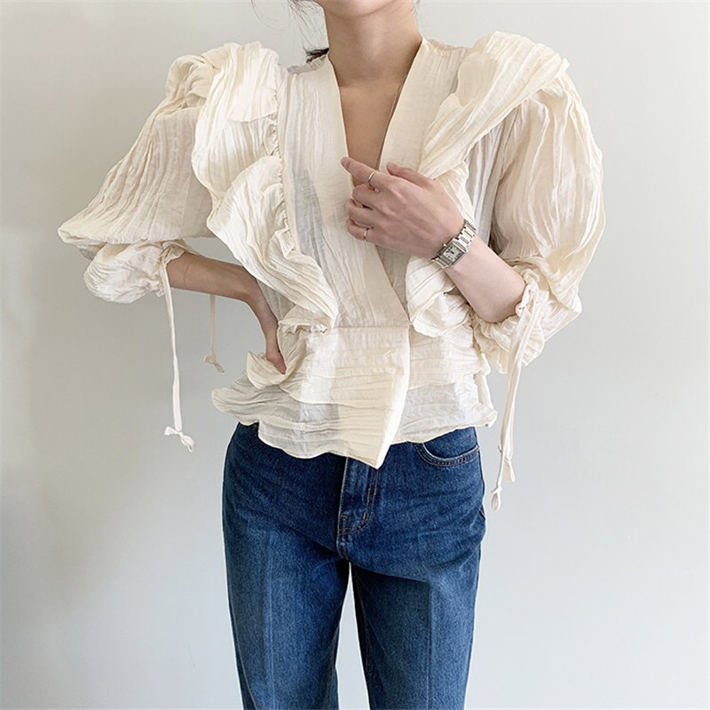 HziriP Elegance Women Vintage Ruffles Pleated 2020 High Street V-Neck Women All Match High Waist Loose Office Lady Chic Shirts