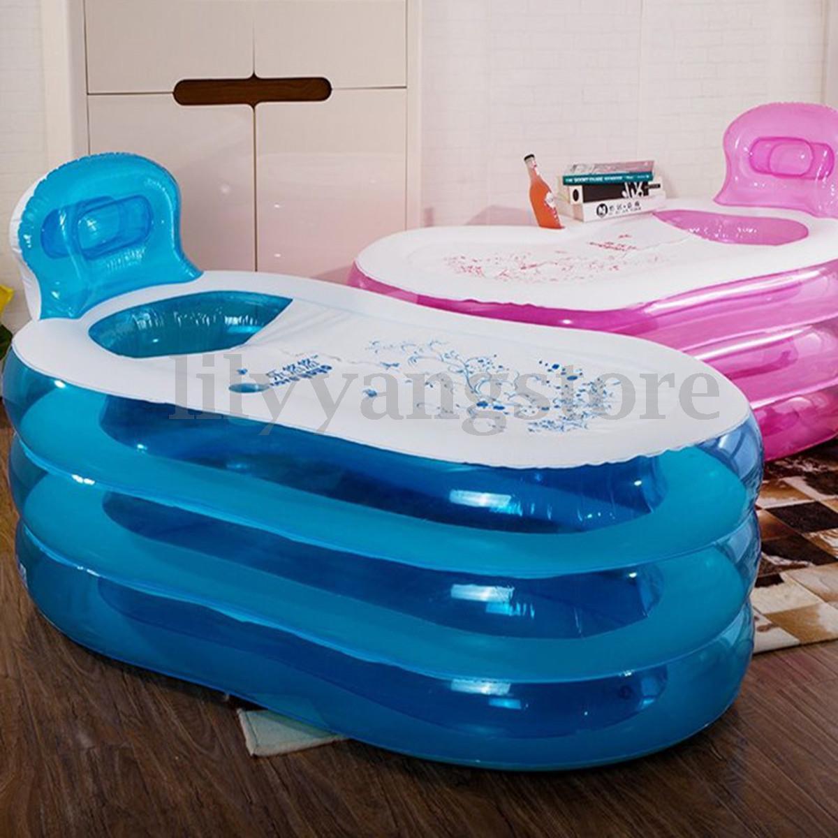 Rose bleu gonflable baignoire SPA PVC pliant Portable pour adultes ménage baignoire gonflable 145cm 130cm