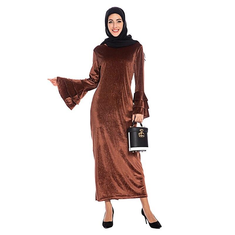 Lantejoulas de veludo abaya dubai hijab vestido