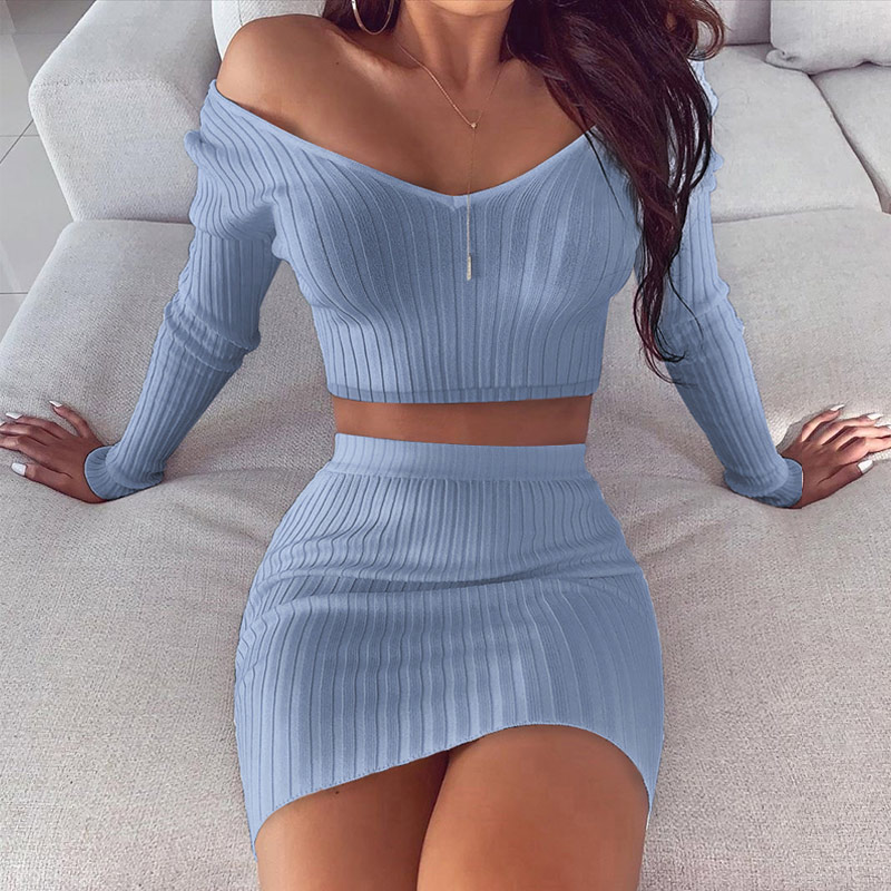 2 Piece Set Women's Knitted Solid Suit Off Shoulder Crop Top And Skirt Sets Female 2020 Spring White Two Piece Set Outfits Lady
