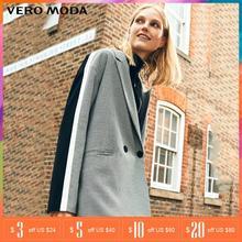 Vero Moda חורף פס עסקים סרוג משבצות חליפת מעיל משובץ נשים ארוך בלייזר