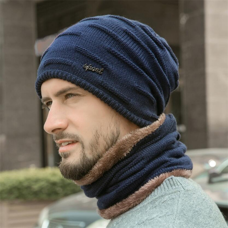 Winter Men Hat And Scarf Man Warm Ribbed Knit Plush Hat 2 Pcs Set 2019 Male Beanies Cap With Ring Scarves Gray Adult Accessories