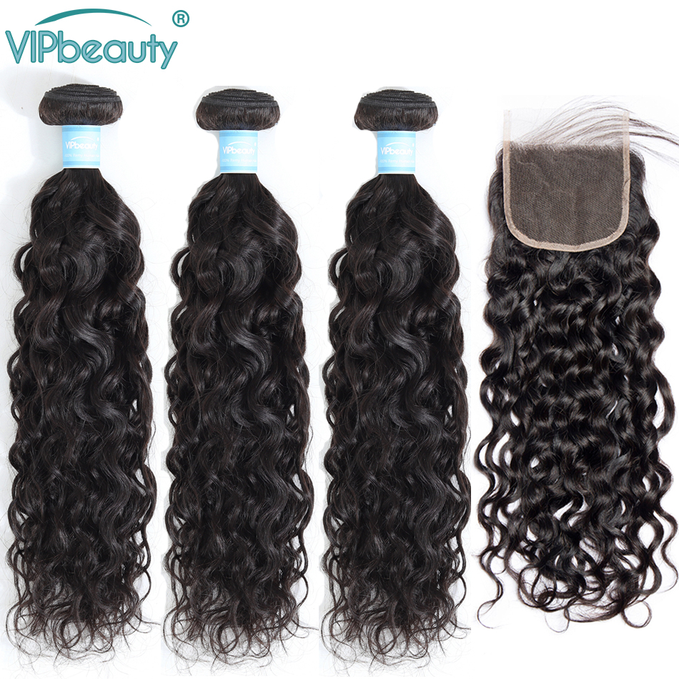 VipBeauty Water Wave Bundles With Closure Natural Color Remy Brazilian Hair Weave Bundles With Closure 100% Human Hair