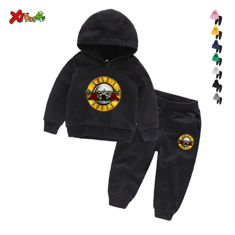 Kids Clothing Guns music hip hop Casual Boys Cartoon Sports T-shirt Pants 2pcs/Set Infant Outfit Kids Clothes Suit Tracksuits