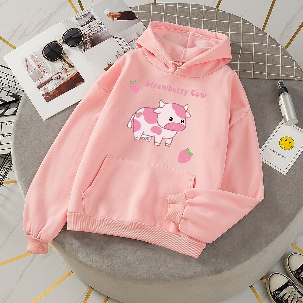 Sweat Capuche Femme Hoodie Oversize Woman Thick Sweatshirt Pink Harajuku Kawaii Strawberry Milk Printed Hoodie Sweetshirt Suit
