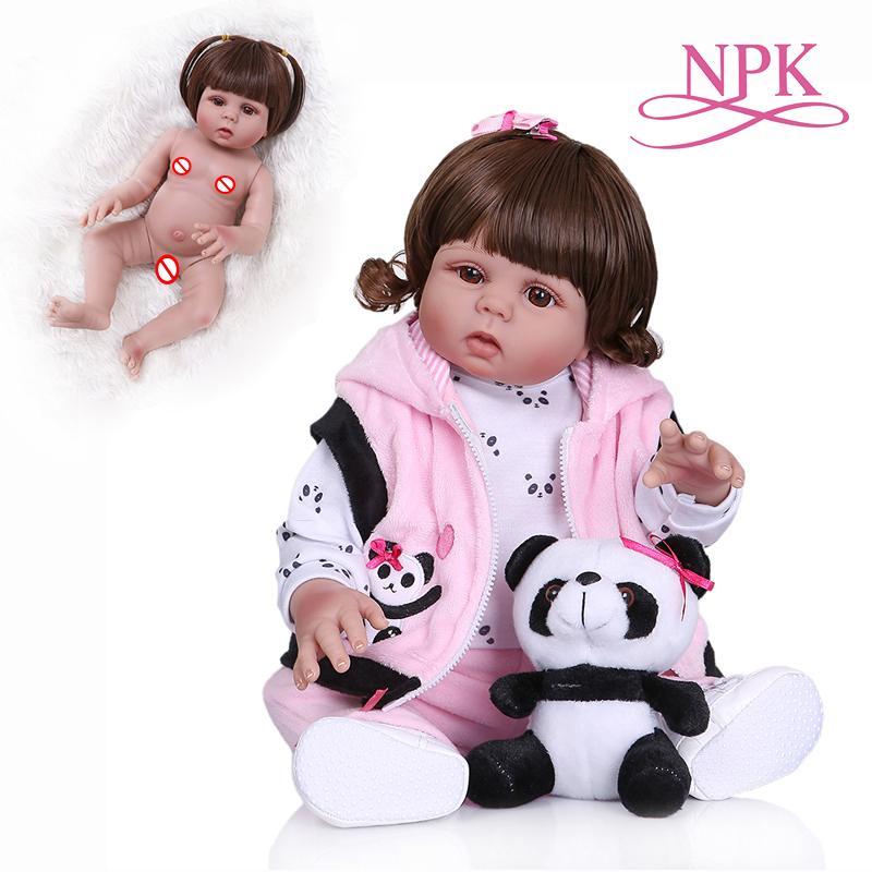 NPK 48CM nouveau-né bébé poupée reborn bambin poupée bébé fille en panda robe corps entier en silicone souple peut bain anatomique Correct