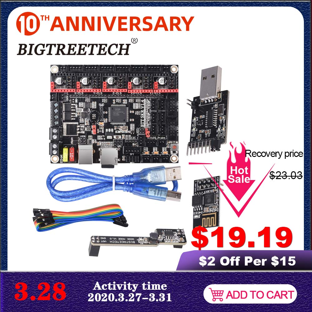 BIGTREETECH BTT SKR V1.4 SKR V1.4 Turbo Control Board 32 Bit WIFI Writer DCDC 3D Printer Parts VS SKR V1.3 TMC2209 TMC2208