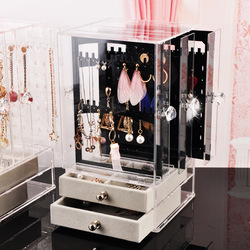Multifuncional transparente plástico jóias caixa de armazenamento brincos poeira acabamento caixa desktop vertical rack lagerung