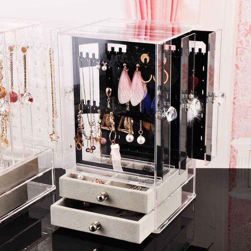 Multifunctional Transparent Plastic Jewelry Jewelry Storage Box Dust Earrings Finishing Box Desktop Vertical Lagerung  Rack