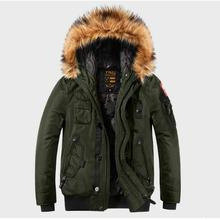 Men 2019 Winter New Vintage Casual Fur Collar Hooded Parkas Jacket Men Style Out
