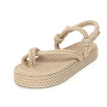 2020 New Summer Sandals Ladies Roman Style Hemp Women Beach Wild Flat Fisherman Grass Woven Linen