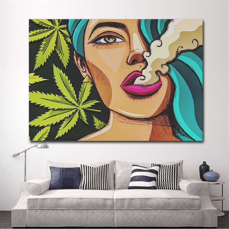 Oucag Cartoon Lady Smoking Painting Abstract Waterproof Canvas Wall Artwork Home Decoration Pictures For Living Room Graphic Aliexpress