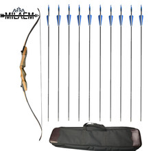 62 inch Archery Recurve Bow American Hunting 30/35/40/45/50/55/60lbs Takedown With 12 pcs Fiberglass Arrows Bag