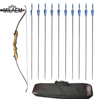 62 inch Archery Recurve Bow American Hunting Bow 30/35/40/45/50/55/60lbs Takedown Bow With 12 pcs Fiberglass Arrows With Bow Bag