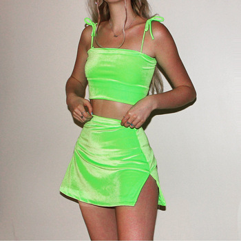 Velvet Spaghetti Straps Camis Skirts 2 Pieces Set 2020 Summer Neon Green Pink Solid Party Swtreetwear Bandage Sets pink back hook eye closure velvet bikinis sets