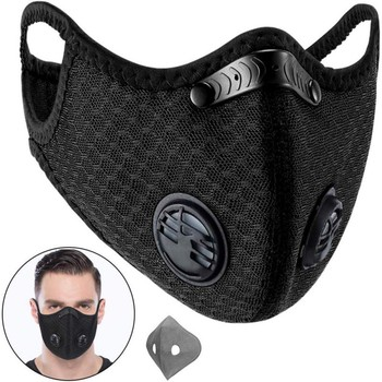 Sport Dust Masks 5 ply PM2.5 Activated Carbon Filter Double breathing valve Mesh Masks KN95 same as N95 1