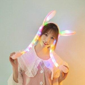 Милый светодиодный головной убор для женщин и девочек с изображением кролика с подушками безопасности, детские длинные плюшевые игрушки с ...