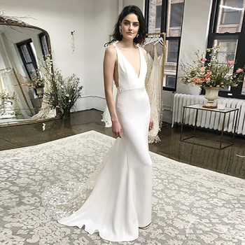 Verngo Mermaid Wedding Dresses Soft Satin Bride Gowns Plus Size Backless Sexy Lace Bridal Dress Sweep Train Robe de mariage
