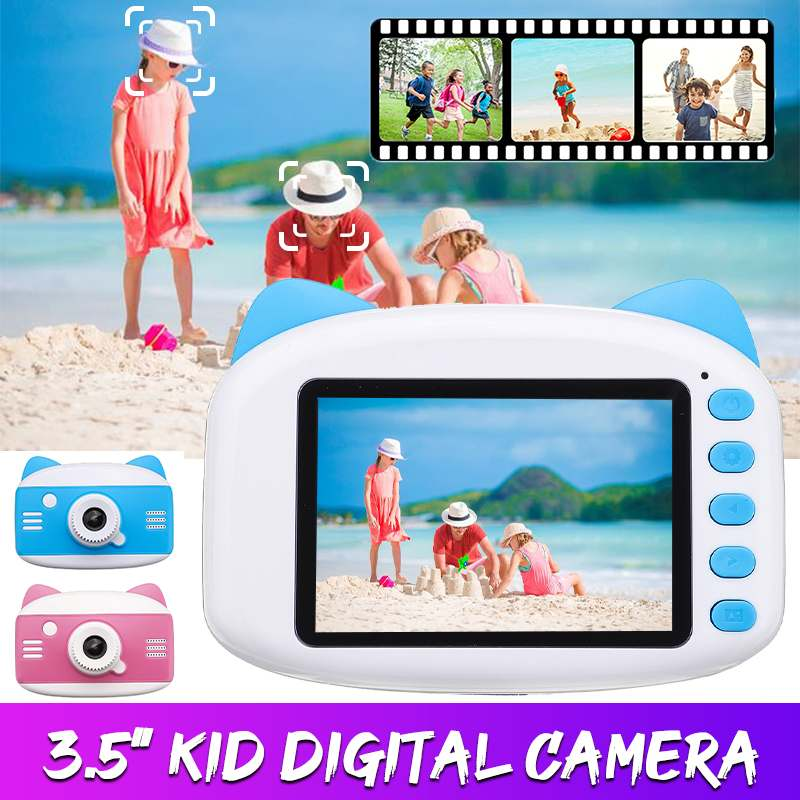 3.5 Inch HD 1080P Kids Camera Cartoon Cat Children Digital Photo Camera Toy With 600mAh Lithium Battery Gift For Kid Children