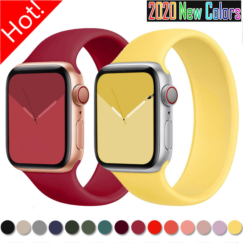 Solo Strap for Apple Watch 6 5/SE band Silicone 40mm 44mm Elastic Bands Sport for Iwatch