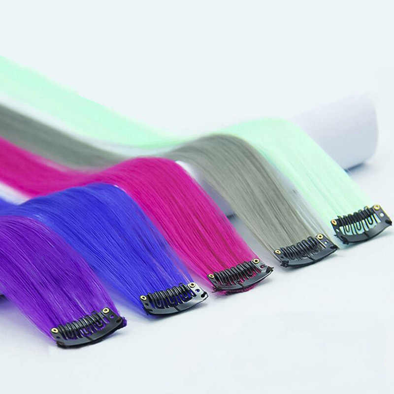 Synthetic Long Straight 37Colors50cm  Hair Pieces Synthetic Hair  Color Strips Single Clip In One Piece Hair Extensions