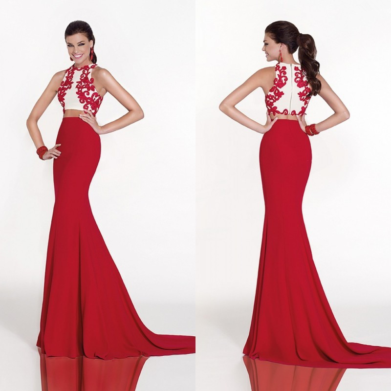 Mermaid Red Long Two Pieces Prom 2018 Floor Length Lace Appliqued Free Shipping Evening Gown Party Mother Of The Bride Dresses