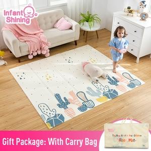 Image 1 - سجادة لعب للأطفال الرضع لامعة XPE سجادة زحف لحماية البيئة سميكة قابلة للطي سجادة أرضية منزلية للأطفال