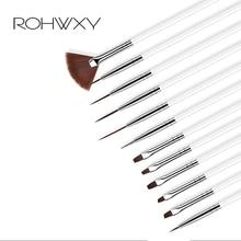 ROHWXY 12 шт. маникюрный набор Pencel раскрашивающая Картина Дизайн Акриловый Дизайн ногтей кисти для маникюра украшения набор кистей