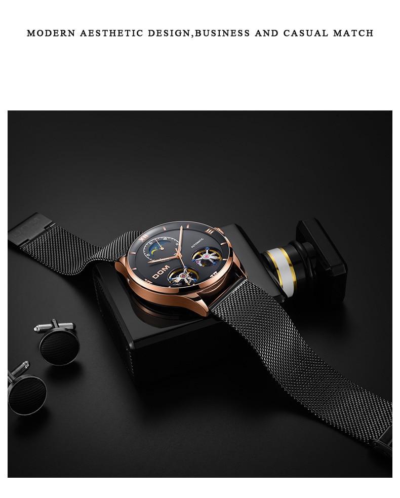 mecânico relógios de couro genuíno à prova