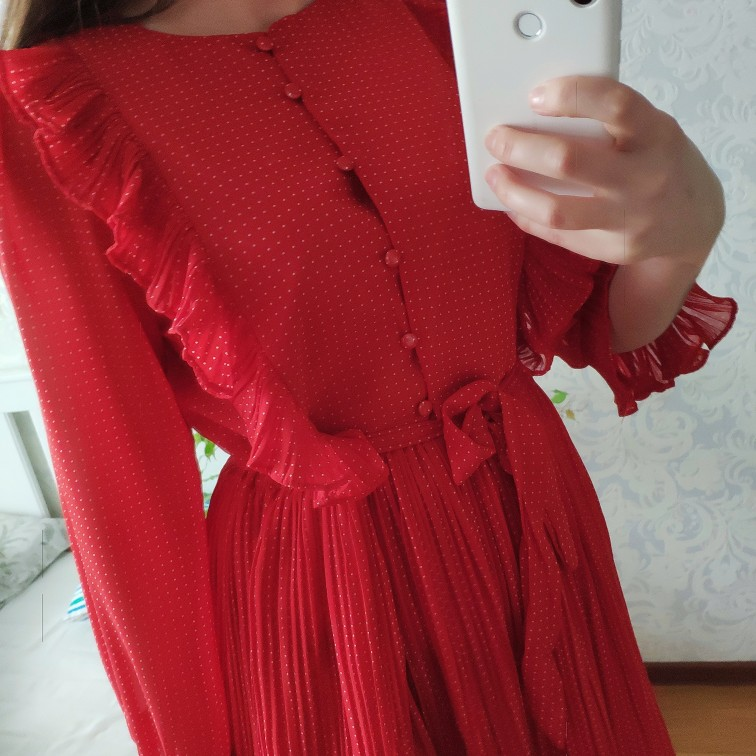 Trytree 19 Autumn Dress Vintage Dot Ruffles women Butterfly Sleeve Shirt Dresses Belt Mid-calf Empire A-line Pleated Hem Dress 30