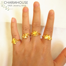 Charmhouse Wedding Rings For Women Pure Yellow Gold Color GP Finger Ring Free Size Bague Femme Engagement Jewelry Anel